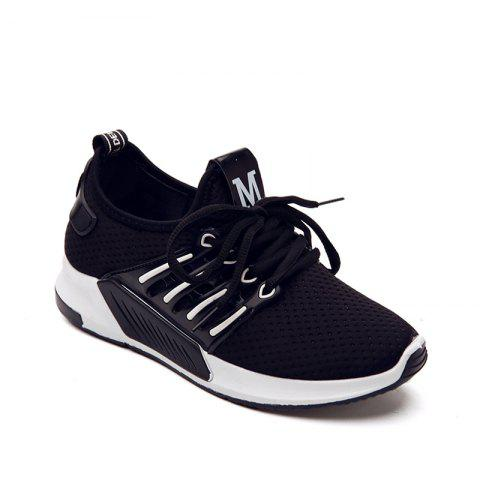 Online All-Match Cloth Shoes Lace White Sneakers Shoes - 39 BLACK Mobile
