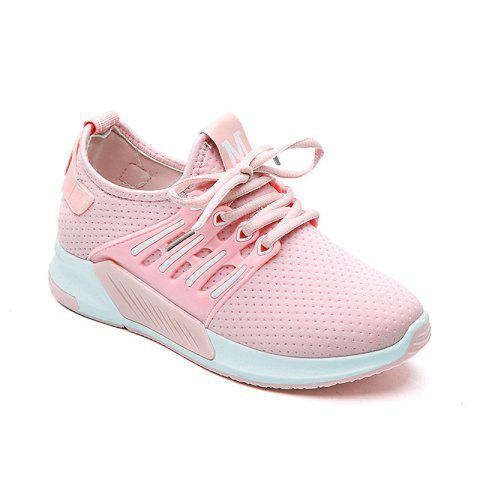 Fancy All-Match Cloth Shoes Lace White Sneakers Shoes PINK 37