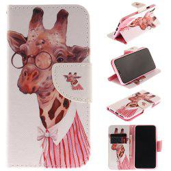 Giraffe Pattern Pu+Tpu Leather Wallet Case with Card Holder/Magnetic Closure Flip Cover for Iphone x -