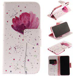 Purple Orchid Patternpu + Tpu Leather Wallet Case avec porte-carte / fermeture magnétique Flip Cover pour Iphone x -