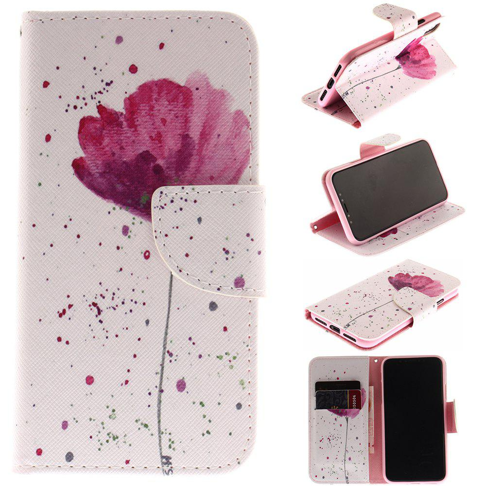 Purple Orchid Patternpu + Tpu Leather Wallet Case avec porte-carte / fermeture magnétique Flip Cover pour Iphone x