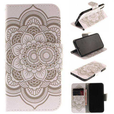 Outfits White Flowers Pu+Tpu Leather Wallet Case with Card Holder/Magnetic Closure Flip Cover for Iphone x