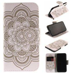 White Flowers Pu+Tpu Leather Wallet Case with Card Holder/Magnetic Closure Flip Cover for Iphone x -