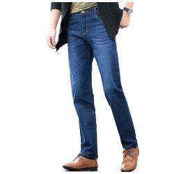Baiyuan Trousers Slim Fit Denim Jeans Blue -