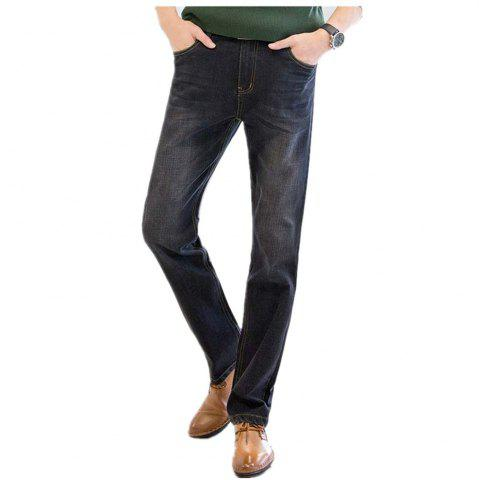 Unique Baiyuan Trousers Business Casual Mens Jeans Black