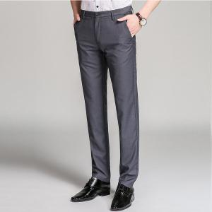 Baiyuan Trousers Bussiness Casual Slim Fit Mens Suit Pants Grey -