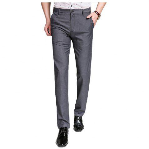 Discount Baiyuan Trousers Bussiness Casual Slim Fit Mens Suit Pants Grey