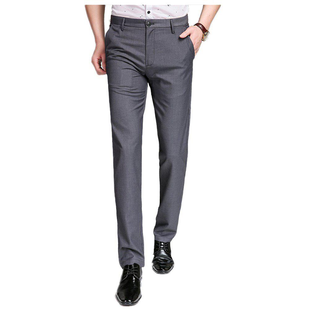 Trendy Baiyuan Trousers Bussiness Casual Slim Fit Mens Suit Pants Grey