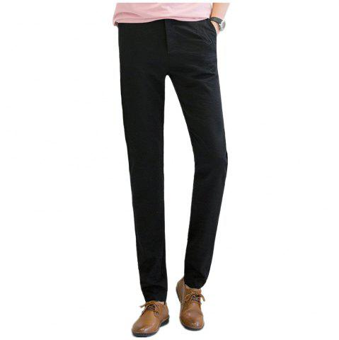 Unique Baiyuan Trousers Autumn Casual Slim Fit Mens Long Pants Black