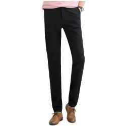 Baiyuan Trousers Autumn Casual Slim Fit Mens Long Pants Black -