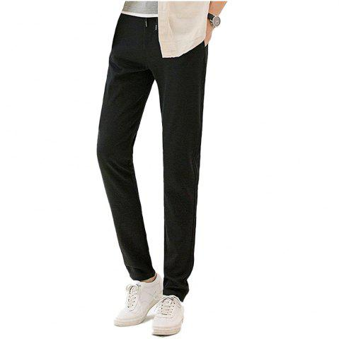 Unique Baiyuan Trousers Autumn Fashion Casual Slim Fit Mens Long Pants Black