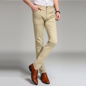 Baiyuan Trousers Business Casual Slim Fit Mens Suit Pants Khaki - KHAKI 36