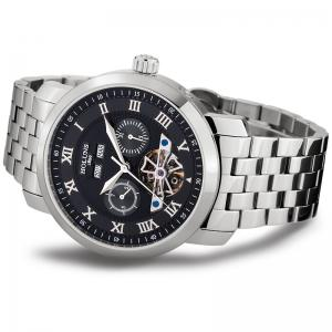 HOLUNS 4612 Business Steel Band Mechanical Men Watch - WHITE AND BLACK
