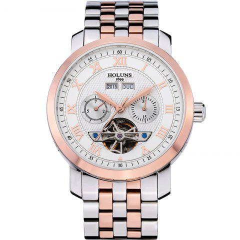 HOLUNS 4612 Business Steel Band Mechanical Men Watch Blanc et Rose Or
