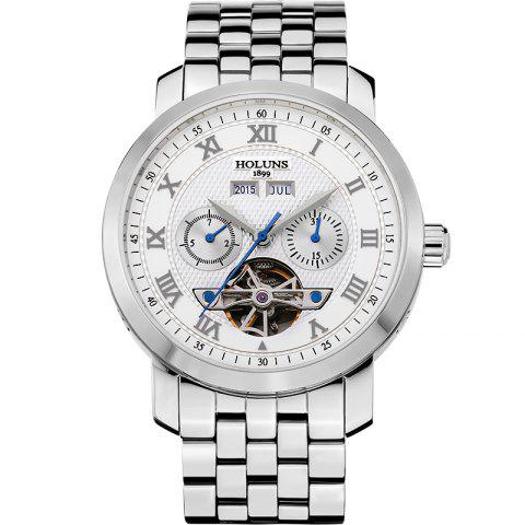 Outfits HOLUNS 4612 Business Steel Band Mechanical Men Watch WHITE