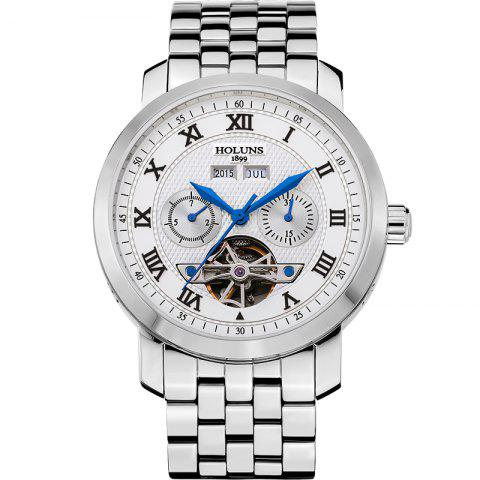 New HOLUNS 4612 Business Steel Band Mechanical Men Watch - BLUE AND WHITE  Mobile