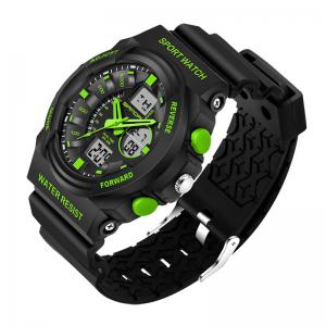 Sanda 241 5297 LED Luminous Quartz Movement Men Watch - Vert