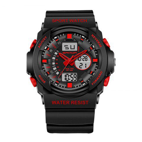 Hot Sanda 241 5297 LED Luminous Quartz Movement Men Watch RED