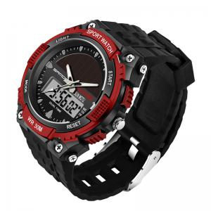 Sanda 719 5313 Multifunctional Outdoor Sports Men Watch - BLACK AND RED