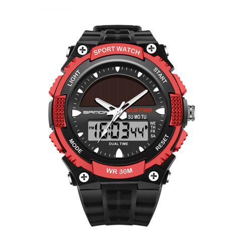 Trendy Sanda 719 5313 Multifunctional Outdoor Sports Men Watch BLACK AND RED