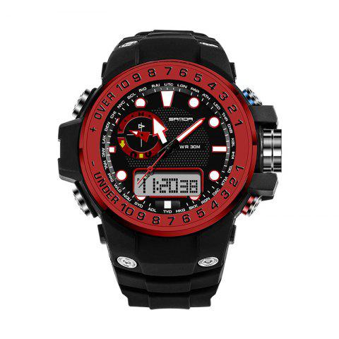 Trendy Sanda 399 5314 Leisure Luminous Outdoor Men Watch BLACK&RED