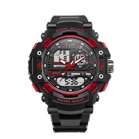 New Sanda 740 5321 Outdoor Double Movement Luminous Men Watch - RED  Mobile