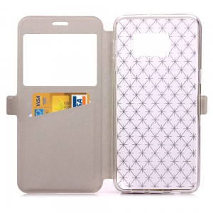 Yc Lingogwen Window Card Lanyard Pu Leather pour Samsung Note 6/7 -