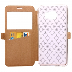 Yc Lingogwen Window Card Lanyard Pu Leather for Samsung Note 6 / 7 -
