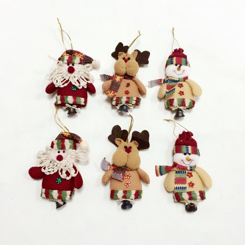 Chic 6Pcs Good  Quality Christmas Ornaments with Small Bell COLORMIX