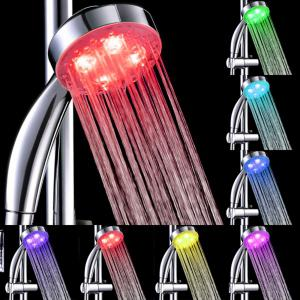 Sea Pioneer Time Control Color Changing LED Shower Head with 3 LED Lights Suitable for Home Bathroom Hotel - SILVER WHITE