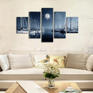 Hx-Art No Frame Canvas Cinq ensembles de peinture The Night View Décoration de salon -