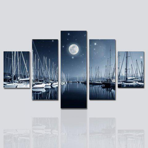 Hx-Art No Frame Canvas Cinq ensembles de peinture The Night View Décoration de salon