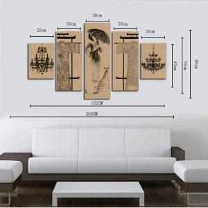 HX-ART No frame canvas five sets of painting beautiful lighthouse living room decoration -