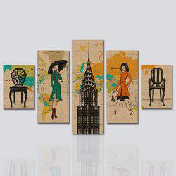 HX-ART No frame canvas five-set painting woman street living room decorative paintings -