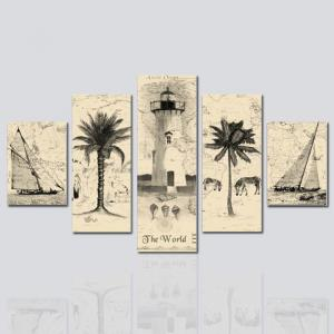 HX-ART No frame canvas five-set painting abstract Palm tree living room decoration -