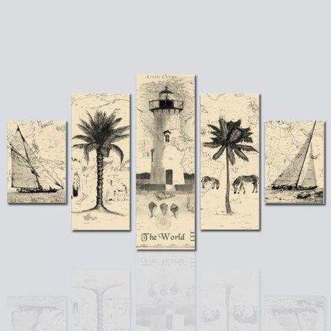 Shop HX-ART No frame canvas five-set painting abstract Palm tree living room decoration