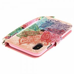Seven-Color Flower Pattern Pu+Tpu Leather Wallet Case with Card Holder/Magnetic Closure Flip Cover for iPhone x -