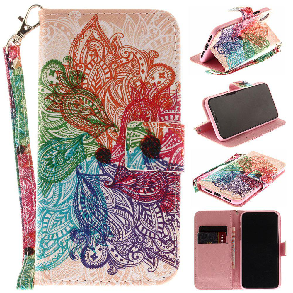 Store Seven-Color Flower Pattern Pu+Tpu Leather Wallet Case with Card Holder/Magnetic Closure Flip Cover for iPhone x