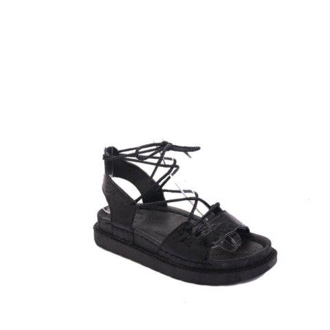 Trendy The New Fashionable Xia Jioping Heel Shoe of Platform Sandals - 37 BLACK Mobile