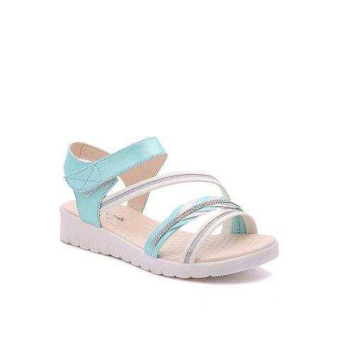 Chic The Wedge Heel of The Student Sandals - 38 BLUE Mobile