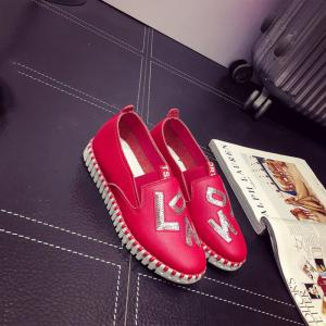 Casual Leather Platform Shoes - RED 35