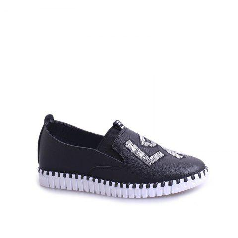 Latest Casual Leather Platform Shoes - 38 BLACK Mobile