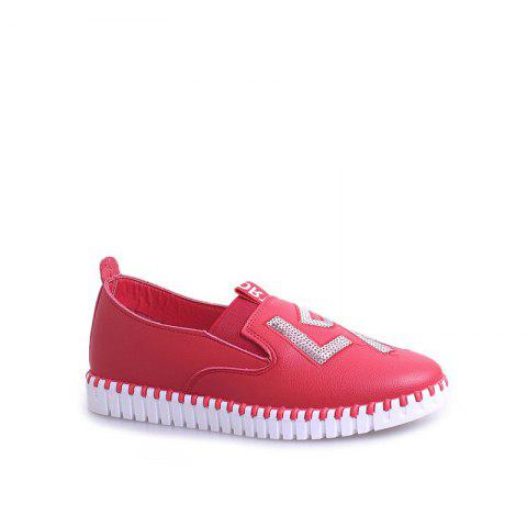 Chic Casual Leather Platform Shoes - 35 RED Mobile