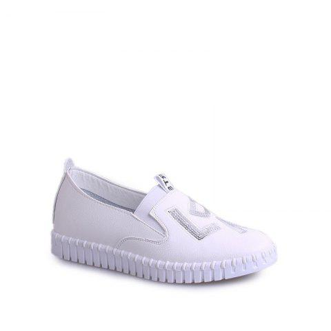 Store Casual Leather Platform Shoes WHITE 35