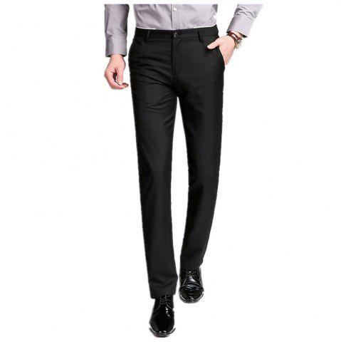 Trendy Baiyuan Trousers Business Casual Mens Suit Pants Black
