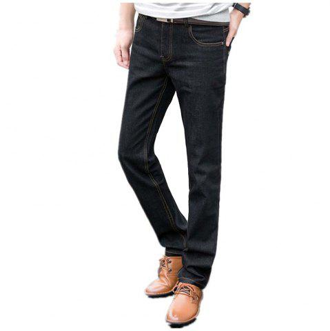 Store Baiyuan Trousers Slim Fit Mens Jeans Black