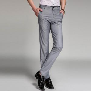 Baiyuan Trousers Business Casual Mens Slim Fit Suit Pants Grey - GREY T4503/1001# 40