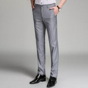Baiyuan Trousers Business Casual Mens Slim Fit Suit Pants Grey -