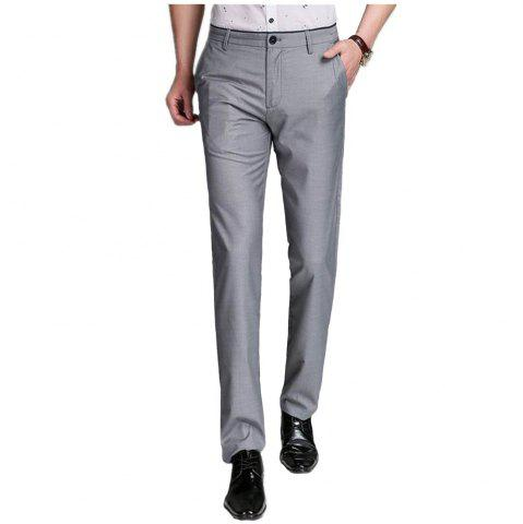 Trendy Baiyuan Trousers Business Casual Mens Slim Fit Suit Pants Grey GREY T4503/1001# 40