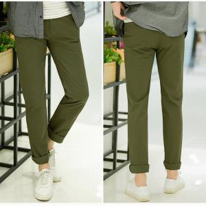 Baiyuan Trousers Casual Slim Fit Mens for Pants Army Green -